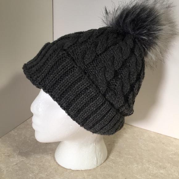 8f378a7ffaebb Layer 8 Accessories - Layer 8 Gray knit hat with a pom-pom